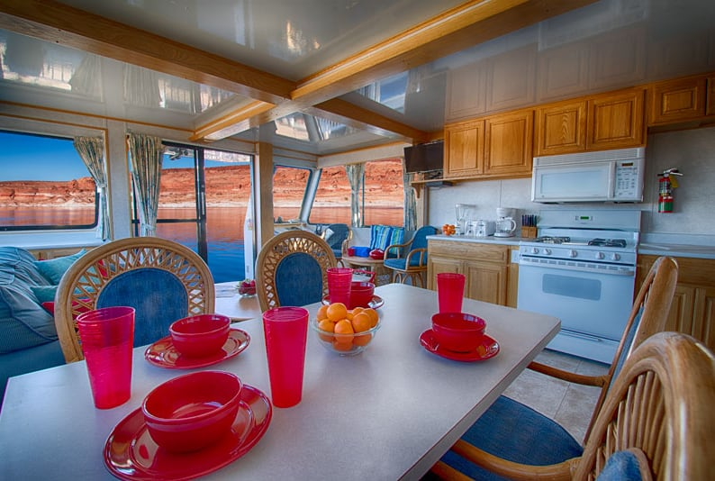 50' forever houseboat dining table